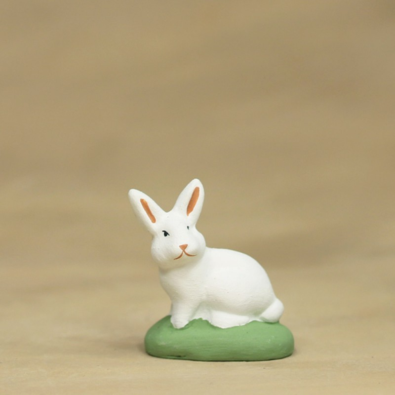 Lapin assis blanc 6 cm