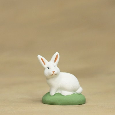 Lapin assis blanc 9 cm